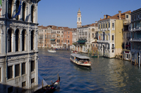 A view of the Grand Canal from the Rialto Bridge with Palazzo Camerlengha on the left and Chiesa dei SS Apostoli, Venice, UNESCO