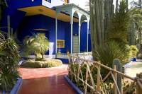 A cobalt blue pavilion surrounded by cactuses and palm trees in the Majorelle Garden, Marrakech, Morocco, North Africa, Africa