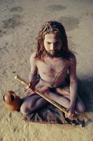 A sadhu, a Hindu holy man daubed in ash, northern India, Asia
