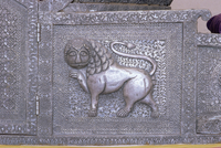 Beautiful raised silver work on panel on the side of an elephant howdah, Mehrangarh Fort Museum, Jodhpur, Rajasthan state, India