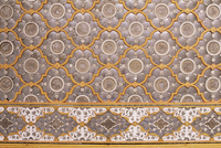 Detail of the fine mirror and plaster work found in the Sheesh Mahal (mirrored hall), The City Palace, Jaipur, Rajasthan state,
