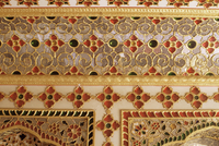 Detail of the coloured glass and mirror work in the audience chamber in the palace, The City Palace, Jaipur, Rajasthan state, In