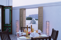 Private dining outside a bedroom suit with view of Gwalior fort in distance, Usha Kiran Palace Hotel, Gwalior, Madhya Pradesh st