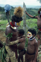 Young boy having his face painted for traditional ceremony, Hul Singsing, Papua New Guinea, Pacific Islands, Pacific