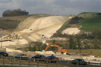 Cutting through chalk hill for the construction of a new section of the M3 Motorway, Twyford Down, England, United Kingdom, Euro