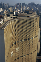 Huge curved office block facade, designed by Oscar Niemeyer, Sao Paulo, Brazil, South America