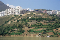 River bank land to be flooded, with new housing above reservoir level, Three Gorges Dam, Yangtze, China, Asia