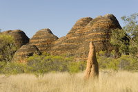 Sandstone hills and termite mounds in The Domes area of Purnululu National Park (Bungle Bungle), UNESCO World Heritage Site, Wes