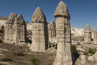 Natural pinnacles in volcanic ash, Zemi Valley, Goreme, UNESCO World Heritage Site, Cappadocia, Anatolia, Turkey, Asia Minor, Eu