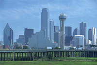 Freeway bridge over the Dallas River floodplain, and skyline of the downtown area, Dallas, Texas, United States of America, Nort
