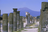 Mount Vesuvius seen from the ruins of Pompeii, buried in the ash flow of the eruption of AD 79, Columbus basalt lava marble and
