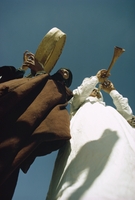 Two men playing musical instruments, El Golea, Algeria, North Africa, Africa