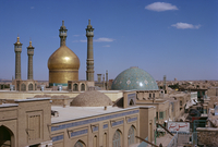 Domes and minarets of the Qom Mosque, Iran, Middle East