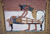 Mural showing the god Anubis leaning over mummy of Ramses II, in the Tomb of Sinjin, chief artist to Ramses II, Deir el Medina,