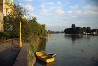 Moored boat on the Thames at dusk, Strand-on-the-Green, London, England, United Kingdom, Europe