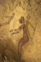 Rock paintings of decorated woman and children on cave, Tassili n'Ajjer, UNESCO World Heritage Site, Algeria, North Africa, Afri