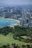 View north west from the lookout on the crater rim of Diamond Head towards Kapiolani Park and Waikiki, Waikiki, Oahu, Hawaii, Ha