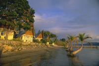 Toba Batak style cabins at Le Shangri-La resort near Ambarita on Samosir Island, Lake Toba, Sumatra, Indonesia, Southeast Asia,