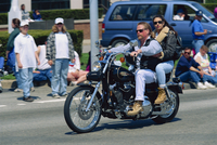 Couple on a Harley Davidson motorbike in Newport, Rhode Island, United States of America, North America
