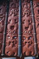 Intricate carving in the replica village at the Maori Arts and Crafts Institute, Whakarewarewa thermal and cultural area, Rotoru