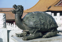 Statue of a turtle, symbol of strength, in the Forbidden City in Beijing, China, Asia