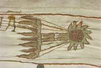 Detail of Halley's comet seen as a bad omen in February 1066, Bayeux Tapestry, Bayeux, Normandy, France, Europe
