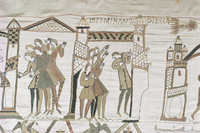 Crowds point to Halley's Comet, February 1066, Bayeux Tapestry, Normandy, France, Europe