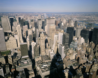 View northeast over city from Empire State building, New York City, New York, United States of America, North America