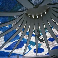 Interior of the roof of the Catedral Metropolitana, Brasilia, Brazil, South America