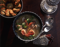 Tom Yum Goong Soup and Fish Cakes, Thailand, Southeast Asia, Asia