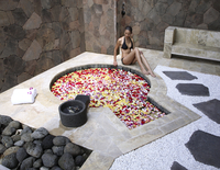 Hot spring pool with flowers at Brilliant Spa and Resort in Kunming, China, Asia 20062010531| 写真素材・ストックフォト・画像・イラスト素材|アマナイメージズ