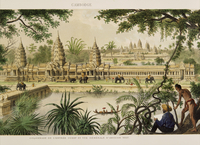 Engraving of Angkor Wat from Exploration de L'Indo-Chine by Delaporte, Cambodia, Indochina, Southeast Asia, Asia 20062010594| 写真素材・ストックフォト・画像・イラスト素材|アマナイメージズ