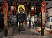 Altar in the sitting room of a Chinese house built in 1780, Phung Hung House, Hoi An, Vietnam, Indochina, Southeast Asia, Asia