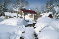 The Asanidake Youth Hostel in winter under snow, on Hokkaido, Japan, Asia
