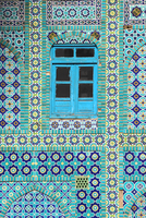 Tiling around blue window, Shrine of Hazrat Ali, Mazar-i-Sharif, Balkh, Afghanistan, Asia