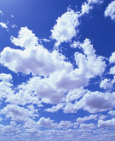 Puffy white cumulus clouds in blue skies over Regans Ford, Western Australia, Pacific