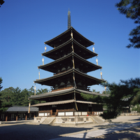 Pagoda, Horyu-ji temple, UNESCO World Heritage Site, founded in 607, Nara, Kansai, Japan, asia 20062019603| 写真素材・ストックフォト・画像・イラスト素材|アマナイメージズ