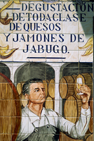 Picture in tiles of wine taster in the Restaurant Lachata in Madrid, Spain, Europe