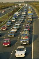 Traffic jam on the M3 at Chobham, Surrey, England, United Kingdom, Europe 20062023805| 写真素材・ストックフォト・画像・イラスト素材|アマナイメージズ
