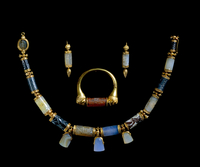 Lady Layard's necklace, made up from 18 Assyrian and Babylo