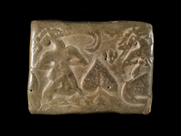 Proto-Elamite clay tablet with five characters on one side a 20065000372| 写真素材・ストックフォト・画像・イラスト素材|アマナイメージズ