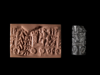 Black hematite cylinder seal; man in a chariot driving four