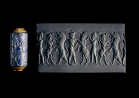 Cylinder seal of lapis lazuli with original gold mounting or