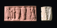 Limestone cylinder seal; a robed female figure, probably a p