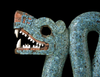 Mosaic of a double-headed serpent (detail of head)