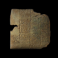 Clay tablet with four and four columns of inscription; Third