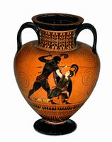 Black-figured amphora (wine-jar) signed by Exekias as potter