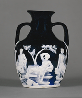Roman, The Portland Vase, an amphora in translucent dark co