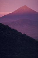 Muhavura volcano viewed from Tongo. Sunset. Virunga NP, Cong