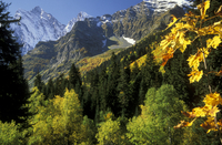Autumn landscape, Buu-Ulgen valley with view on Buu-Ulgen pe